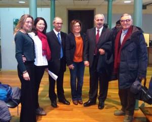 I relatori del Convegno con Massimo De Buono, Responsabile della Sezione Braille della Biblioteca Nazionale di Cosenza, e a Pietro Testa, Presid